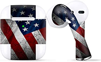 Protective Skin Wrap for Apple AirPods, Vinyl Sticker Cover Decal, American Flag Distressed Wave