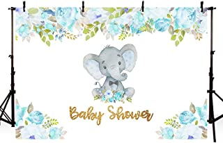 MEHOFOTO 7x5ft Cute Elephant Boy Prince Baby Shower Party Backdrop Blue Flowers Spring Welcome Decorations Photography Background Photo Banner