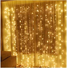 Twinkle Star 300 LED Window Curtain String Light Wedding Party Home Garden Bedroom Outdoor Indoor Wall Decorations (Warm White)
