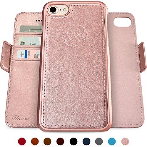 dreem Fibonacci 2 en 1 Funda iPhone SE(2) 8 7 Cuero Vegano Tipo Billetera | Funda Magnética Desmontable a Prueba de Golpes TPU Fino | Protección RFID | Caja de Regalo | Oro Rosa