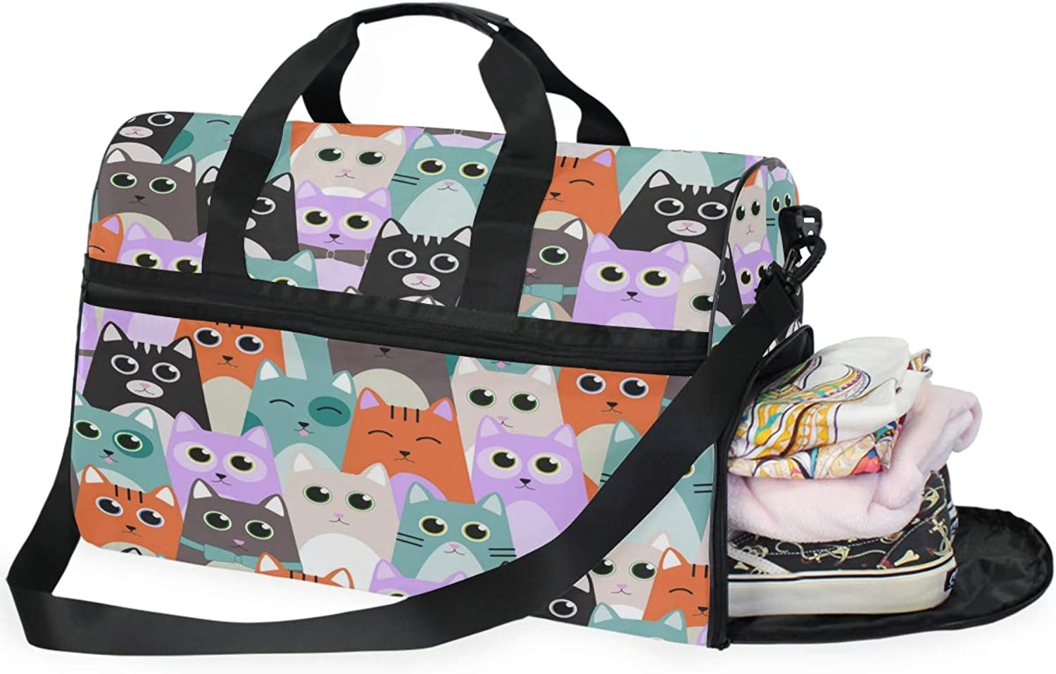 2ca71e683b80 Cats for Kids Gym Bag with shoes Compartment Travel Duffel Bag for ...