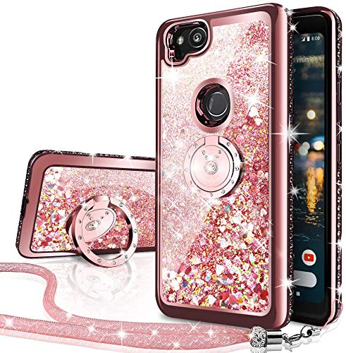 Silverback Google Pixel 2 Case, Moving Liquid Holographic Sparkle Glitter Case with Kickstand, Bling Diamond Rhinestone Bumper W/Ring Slim Google Pixel 2 Case for Girls Women-Rose Gold