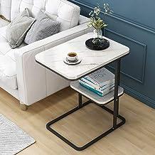 طاولة جانبية للأريكة من IOTXY - 2 أرفف معدنية طاولة قهوة عملية مع رف للكتب لغرفة المعيشة وغرفة النوم، باللون الأبيض