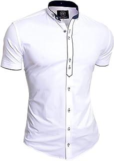 D&R Fashion Men's Casual Short Sleeve Shirt Smart Grandad Collar Cotton Slim Fit