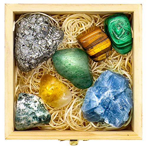 Crystalya Premium Grade Crystals and Healing Stones for Abundance and Prosperity in Wooden Box - Malachite, Pyrite, Citrine, Aventurine, Blue Calcite, Tree Agate, Tiger's Eye Gemstones + Info Guide