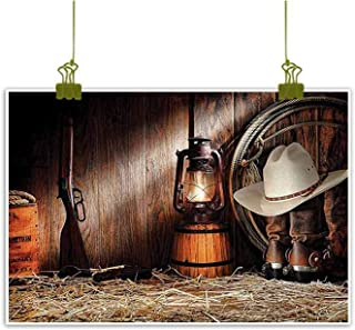 Sumilace Art Poster Oil Paintings Canvas, Authentic Gear Straw Hat ATOP Genuine Leather Boots and Kerosene Oil Lantern Lamp for Home Office Decorations - 16
