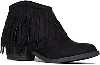 Fringe Ankle Boot- Western Cowboy Bootie