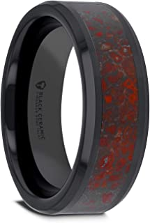 Thorsten Triassic | Tungsten Rings for Men | Tungsten | Comfort Fit | Polished Flat Style Black Ceramic Wedding Ring with Red Dinosaur Bone Inlay and Polished Beveled Edges - 8mm