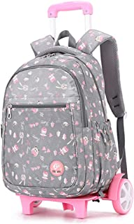 Nylon School Bag Waterproof Wearable Trolley Backpack Elementary School Detachable Staircase Bag