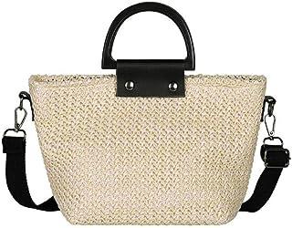 GSERA Stroh Gewebte Totes Schulter Messenger Handtaschen Lässige Frauen Beach Crossbody Top-Griff Taschen