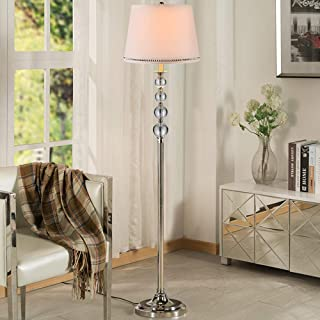 Lampadaire Moderne E27, Lampe sur Pied 9W LED Cristal avec Abat-Jour en Tissu, Télécommande, Températures De Couleur, Inte...