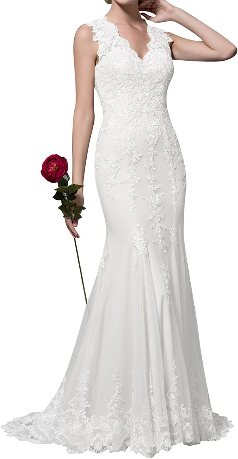 Cdress Lace Applique Wedding Dresses Sheer VNeck Bridal Dress Sweep Train for Bride Gowns