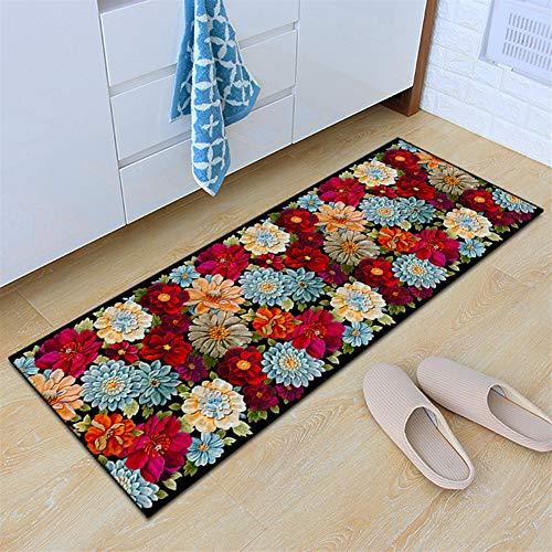 Insun Teppich Küchen Läufer Küchenmatte Waschbar rutschfest Schlafzimmer Badezimmer Fußmatte Modern Muster Blume 3 50x120cm