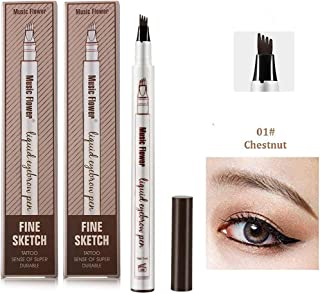 Ownest 2 Pack Eyebrow Tattoo Pen,Waterproof Long Lasting Eyebrow Penci,with a Micro-Fork Tip Applicator Creates Natural Looking Brows Effortlessly-Chestnut