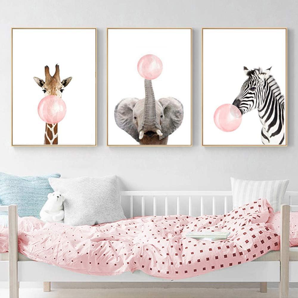 Nordic Ideas 12 Posters Girafe Zèbre Éléphant Animal Bubble Rose Affiches  Chambre Enfant Fille Tableau Décorations Murales Impression sur Toile sans  ...