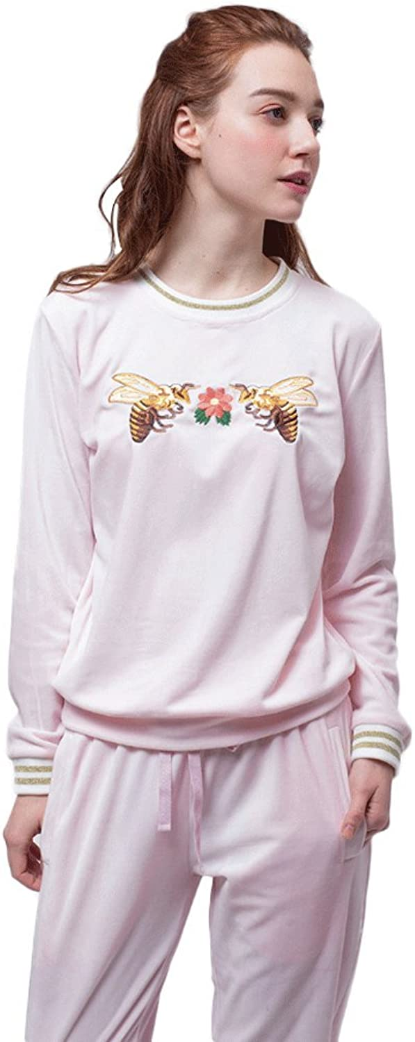 Spring and Autumn longsleeved cartoon piece of pajamas home service ( color   Pink , Size   L )
