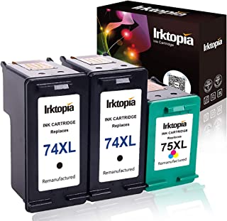 Remanufactured Ink Cartridge Replacement for HP 74XL CB336WN & HP 75XL CB338WN (2 Black & 1 Color, 3-Pack) for HP Photosmart Series Printer