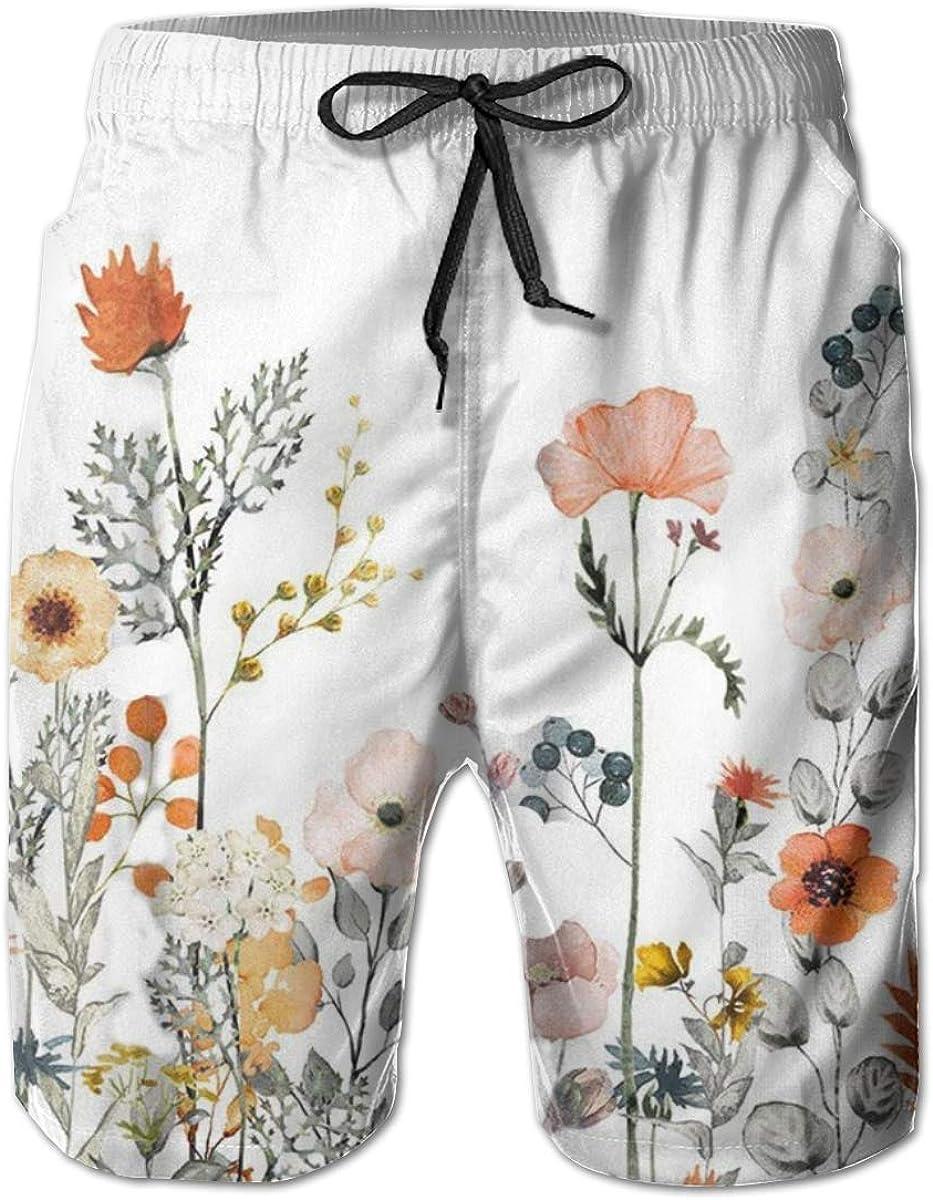 Mens Watercolor Floral Quick Dry Short Trunk W Classic New item Fit Swim Manufacturer OFFicial shop