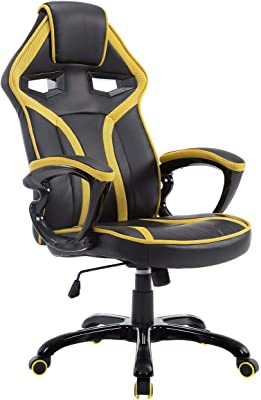 COSTWAY Racing Gaming Silla Gamers Videojuegos Sillón para Oficina Ejecutiva Ordenador Taburete Asiento Altura Ajustable (