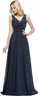 Lace Applique V-Neck Beaded Long Chiffon Formal Dresses for Women