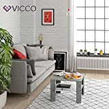 Vicco Coffee Table Homer Living Room Table Concrete White 60x60 Couch Table Side Table - 3