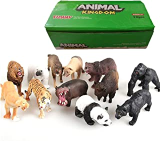 12 Pieces Forest Jungle Animal Figures Plastic Safari Animals Model Educational Toys for Kids Children (Lions,Tigers,Gorillas,Hippos,Pandas,Panthers,Polar Bear,Brown Bear,Wolves,Bison,Jackals,Lioness)