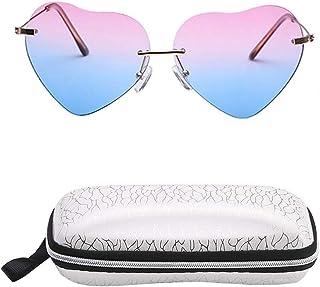296fe84970 INTVN Lunette de Soleil Femmes Mode Coeur lunettes et Étui à lunettes Pour  Conduite Vélo Golf