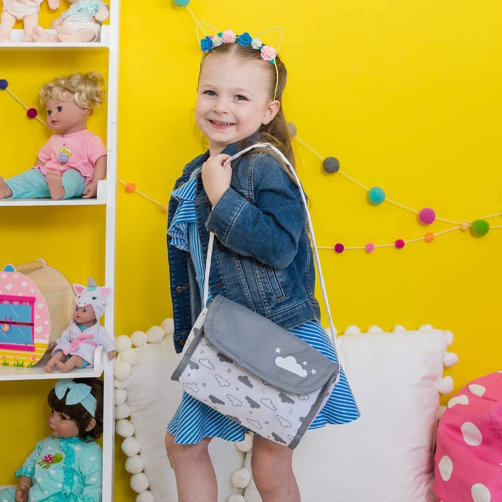 Adora Baby Doll Diaper Bag - Twinkle Stars Diaper Bag with Accessories, Gender Neutral Cloud Print