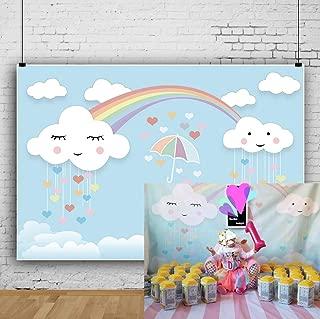OFILA Cartoon Rainbow Backdrop 7x5ft Girls Baby Shower Party Decoration Kids Photography Background Girls Birthday Portraits Newborn Baby Shoots Room Wallpaper Preschool Events Tea Party Photos Props