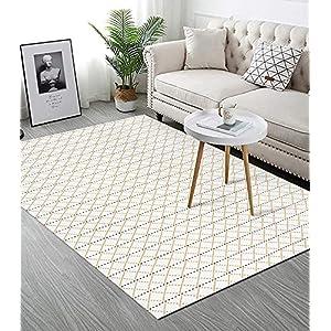 Upgraded Boho Area Rug 3'x5′, Yellow Diamond, 100% Woven Boho Rug for Bedroom, Tassel Rug for Living Room/Bedroom