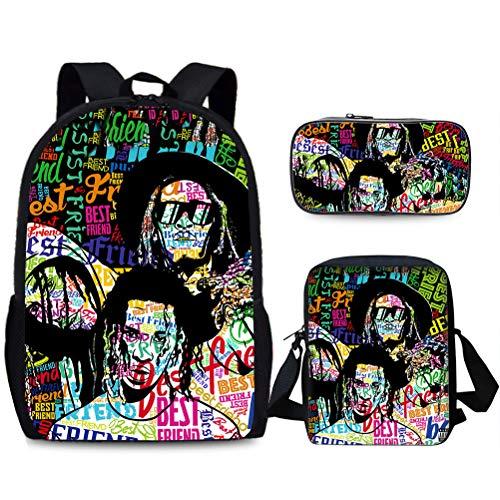 Young Thug Casual Backpack Backpack Set 3 Pieces Casual Backpack+Shoulder Bag+Pencil Case Trendy Design Travel Bag Children Portable School Bag Multicolor Daypack Lightweight Hiking Bag Kids
