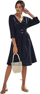 Women's Elegant Wrap V Neck 3/4 Sleeve D-Ring Belted Midi Dress