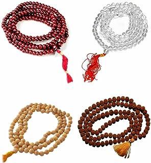 Kriwin Combo of Sandalwood Pooja Jap Malas with Rudraksha/Chandan Scented/Sphatik (Red) -Set of 4