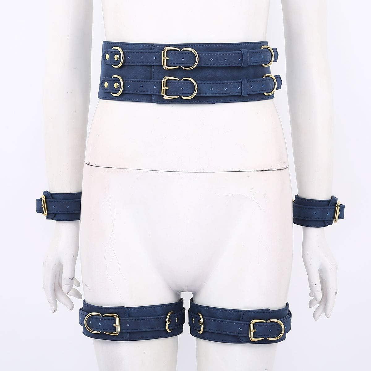 Alvivi Unisexe Costume Sado MASO Jambe Harnais PU Cuir avec Menotte Poignets Forme X Bandage R/églable Porte-Jarretelles Sangle Rivet Tenue Jeux Plaisir