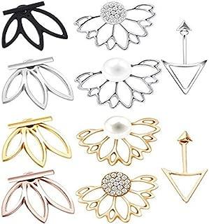 QHiYan 10 Pairs Ear Jacket Stud Lotus Flower Earrings Simple Chic Earring Set for Women and Girls