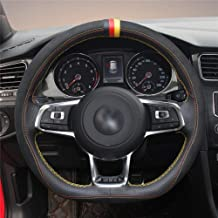 HCDSWSN DIY Mano Coser Cubierta del Volante del Coche Negropara Volkswagen VW Golf 7 GTI Golf R MK7 VW Polo GTI Scirocco 2015 2016