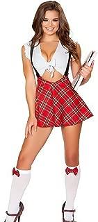 Women's Sexy School Girl Plaid Uniform Cosplay Strappy Halter Skirt Lingerie Set