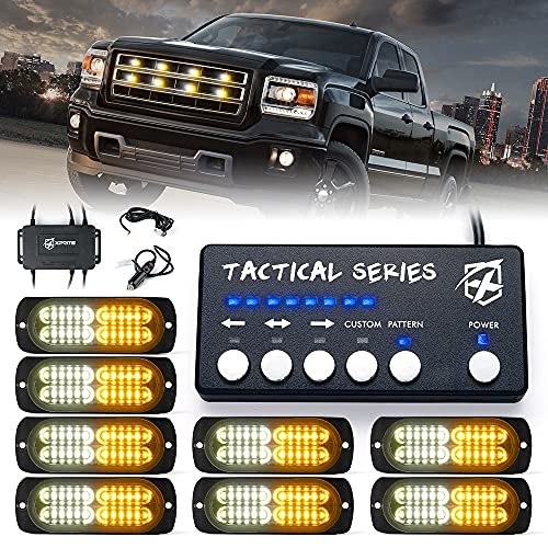 Xprite Surface Mount Strobe Lights Kit with Control Panel, Amber White Grill Grille Side Marker Flashing Emergency Warning Light for Trucks Vehicles ATV RV Cars Van 8PCS