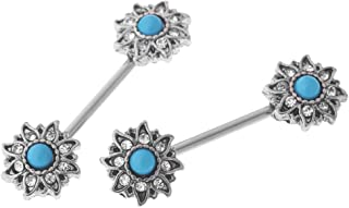 MagiDeal 1 Pair Of Nipples, Stainless Steel 316L Breast Piercing, Rhinestone Fashion Jewelry