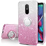 LG Stylo 5 Case,Silverback Girls Bling Glitter Sparkle Cute Phone Case with 360 Rotating Ring Stand, Soft TPU Outer Cover + Hard PC Inner Shell Skin for LG Stylo 5 Plus -Pink