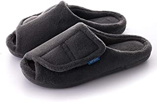 Women's Furry Memory Foam Diabetic Slippers Comfy Cozy Arthritis Edema Shoes Adjustable Open Toe, Non-Slip.