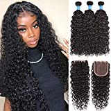 8A Brazilian Human Hair Ocean Wave Bundles With Closure Water Wave Human Hair 3 Bundles With Lace Closure Free Part Wet and Wavy Human Hair Weave Bundles With Closure 4x4 Natural Color (22 24 26+20)