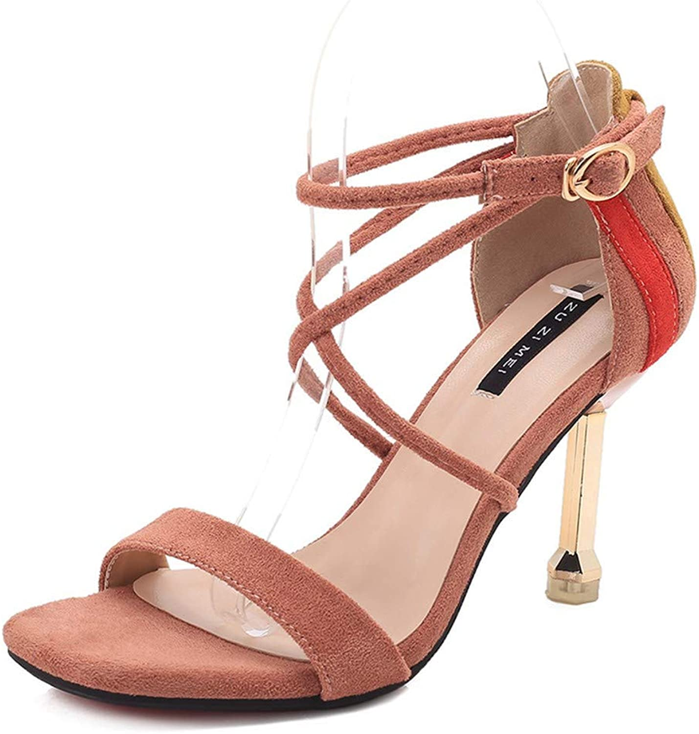Pink Cross Buckle with Open Toe Sexy High Heel Sandals