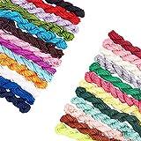 PandaHall 28 colores de 2 mm cuerda de nailon chino, cuerda de nailon para tejer a mano, hilo de abalorios para hacer joyas, nudo chino, pulsera, hilo de abalorios, 336 yardas en total