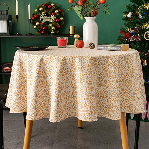 Amzali Round Tablecloth - Cotton Linen Xmas Themed Tabletop Washable Table Cloth Decorative Fabric Table Cover for Dining Table, Buffet Parties and Holiday, 60 Inch Round, Beige