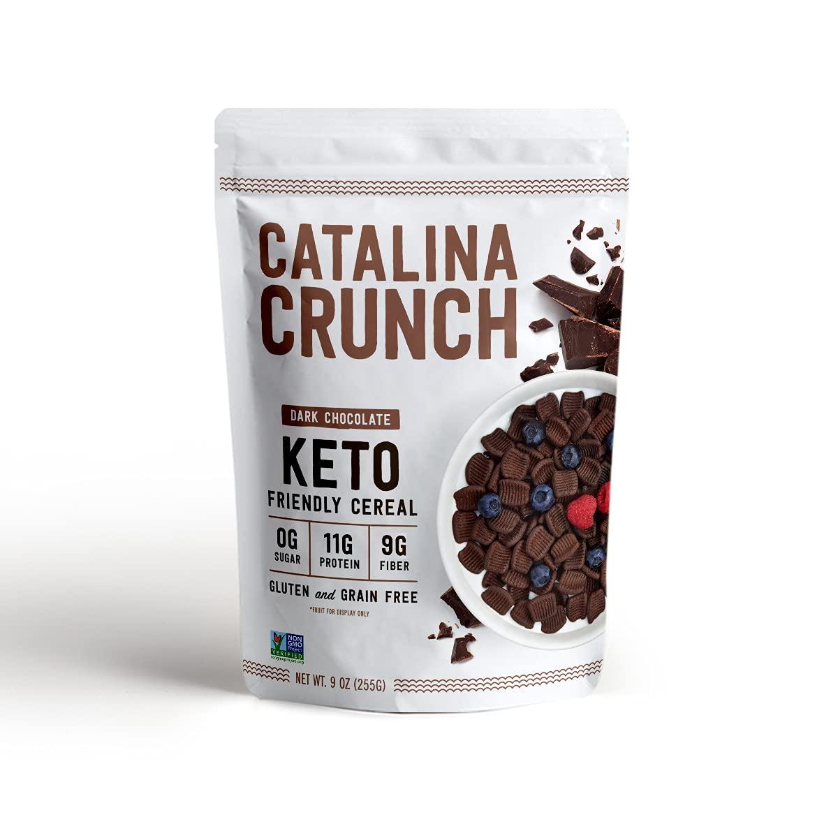 Catalina Crunch Dark Chocolate Keto Cereal (9oz Bags) | Low Carb, Sugar Free, Gluten Free, Grain Free | Keto Snacks, Vegan, Plant Based | Breakfast Cereals | Keto Friendly Food