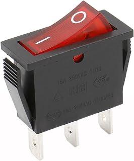 heschen Rocker Interruptor ON-OFF SPST 3Terminales Luz Roja 16A 250VAC 5unidades