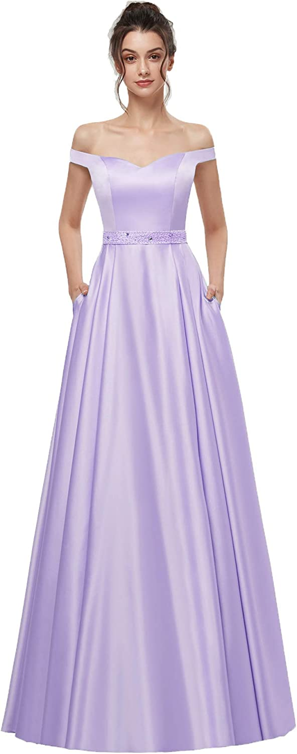 AnnaBride Women's Long Off The Shoudler Beads Formal Prom Party Dresses with Pockets Evening Party Gowns Lavender 04