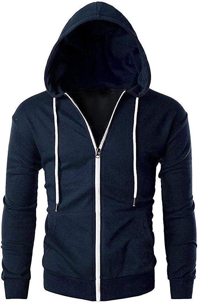 MODOQO Men's Zipper Hoodies Jacket Long Sleeve Casual Lightweight Sweatshirt with Pocket