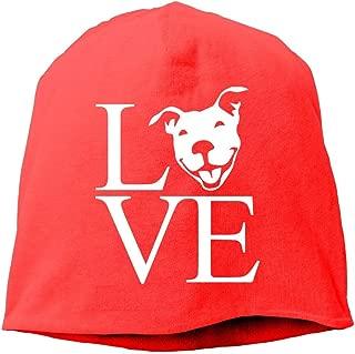 Love Pit Bull Men Women Winter Helmet Liner Fleece Skull Cap Beanie Hat for Hiking Black